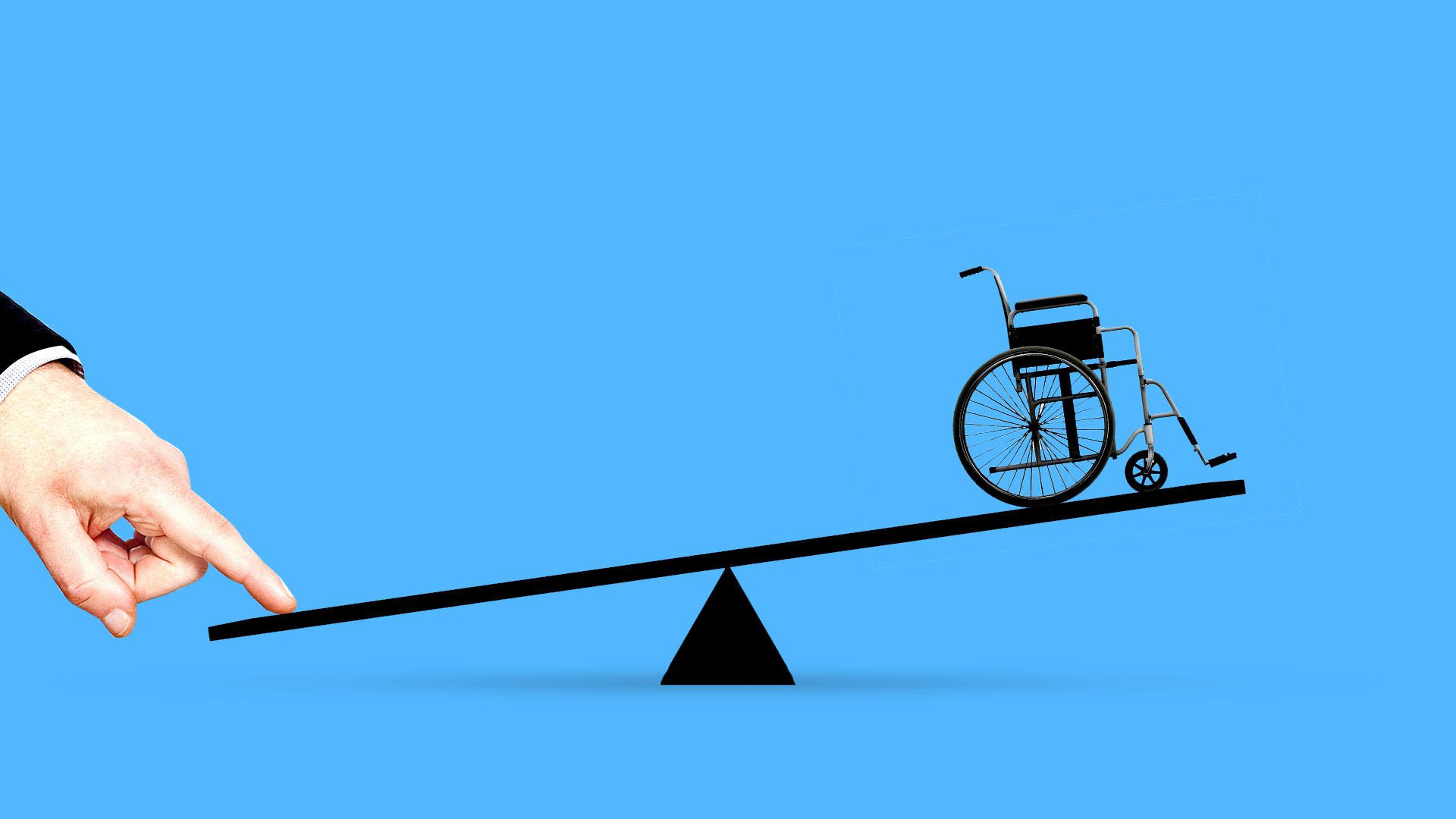 Illustration of a wheelchair on one side of a seesaw with a hand pressing down the other side