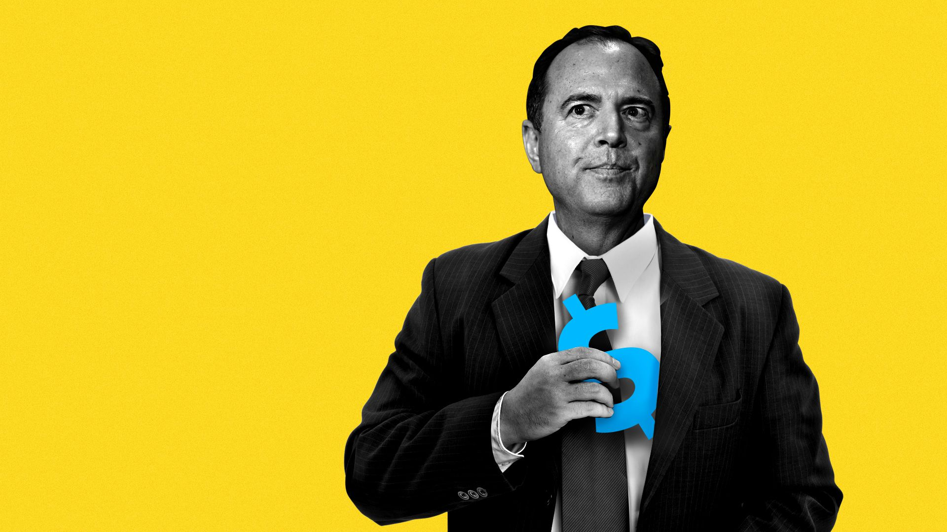 Illustration of Adam Schiff pulling a dollar sign from his jacket