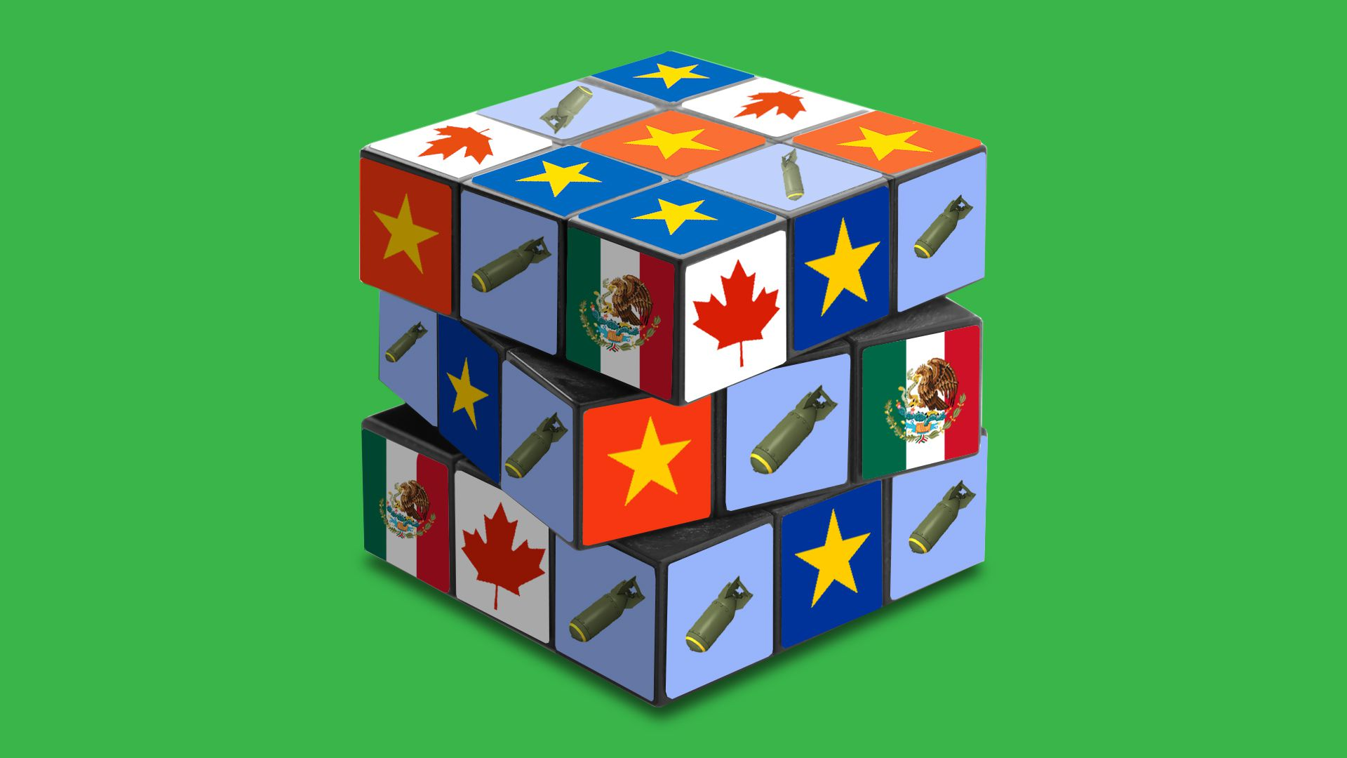 Illustration of a Rubik's Cube with icons representing the U.S., Mexico, Canada, and China, plus images of bombs