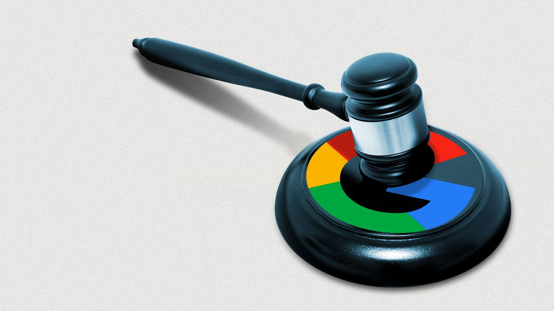 An illustration of a gavel with the Google logo on the base.