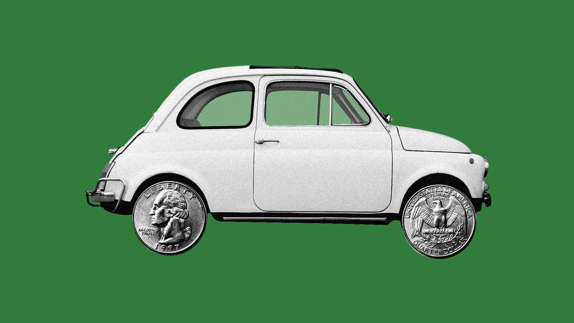 Illustration of  car with quarters instead of tires