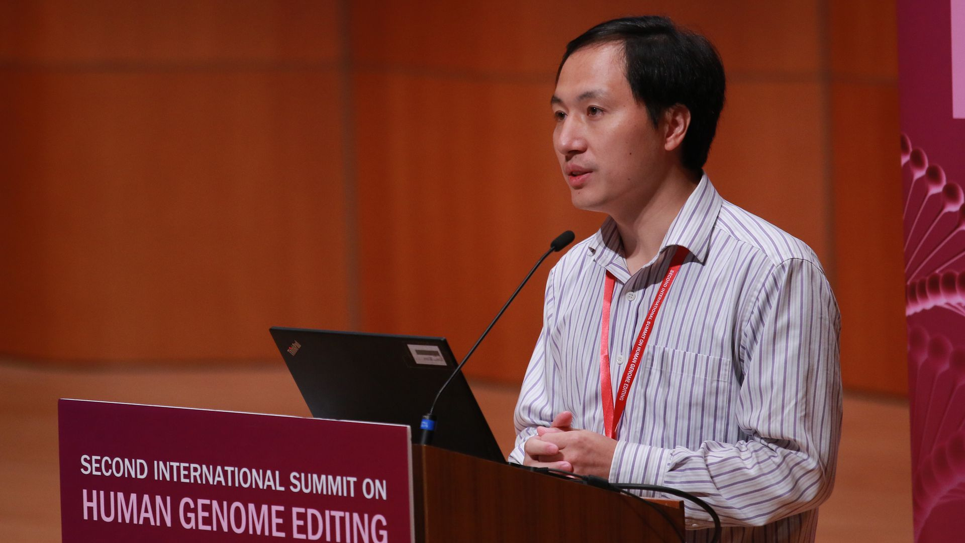 Biological researcher He Jiankui speaking at the Second International Summit on Human Genome Editing at the University of Hong Kong in November.