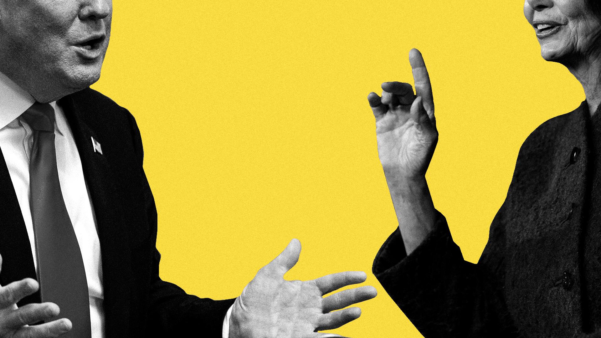 Illustration of President Trump and House Speaker Pelosi.