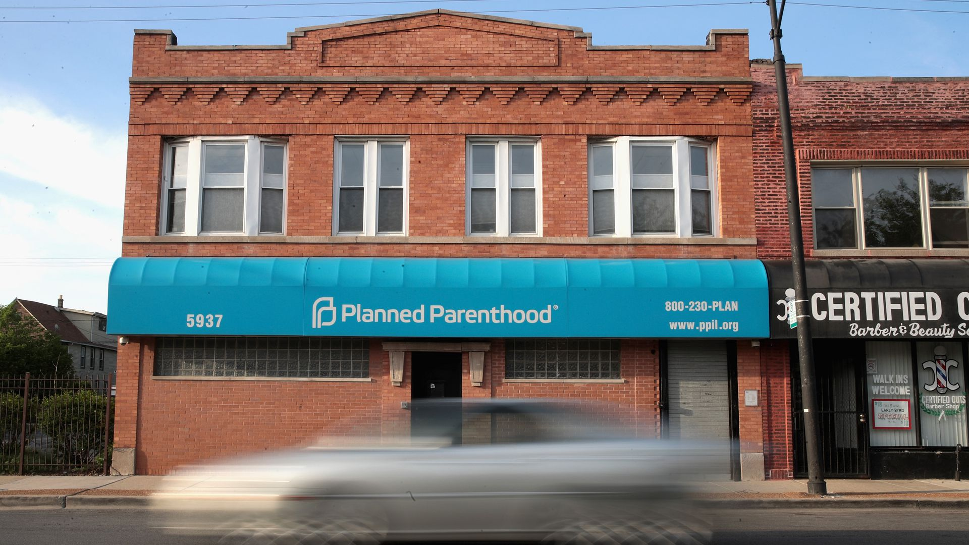 A car drives past a Planned Parenthood clinic in Chicago.
