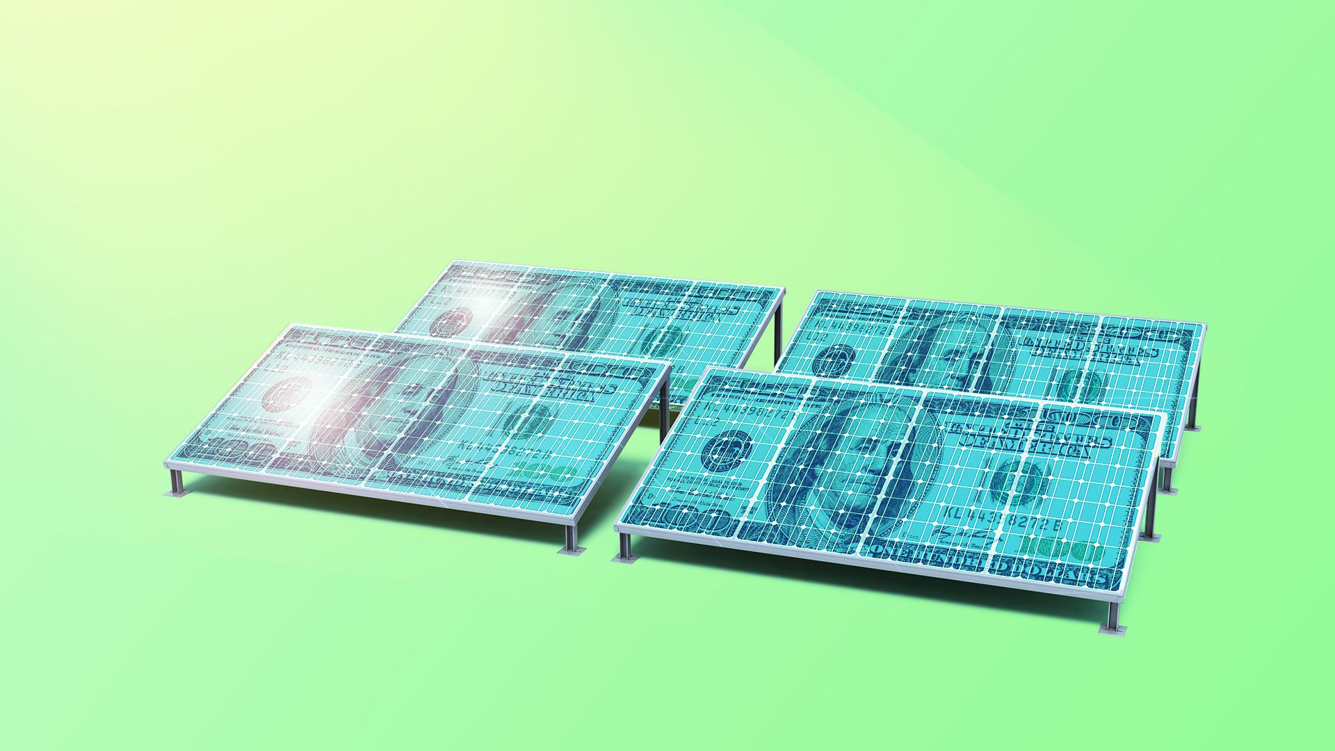 Illustration of hundred dollar bills as solar panels.