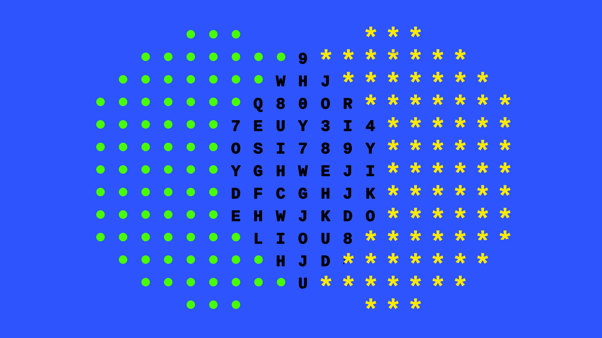 Illustration of encryption as an abstract eye made up of symbols and code