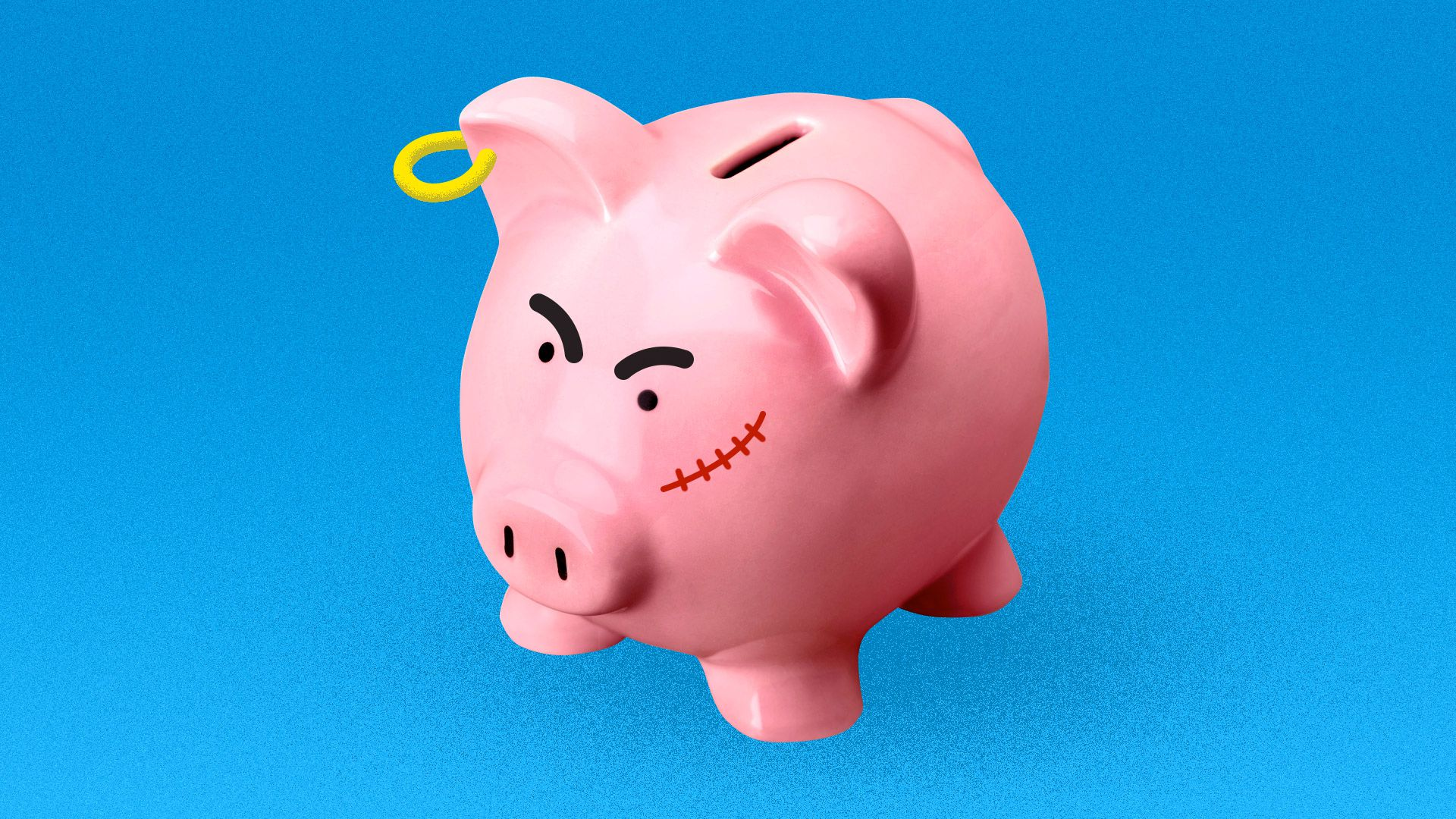 A piggy bank with aggressive features