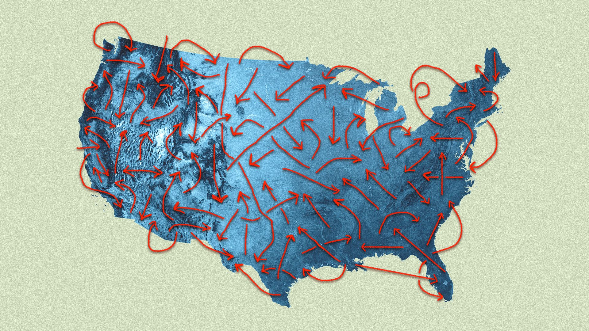 A map with arrows pointing to different parts of the country