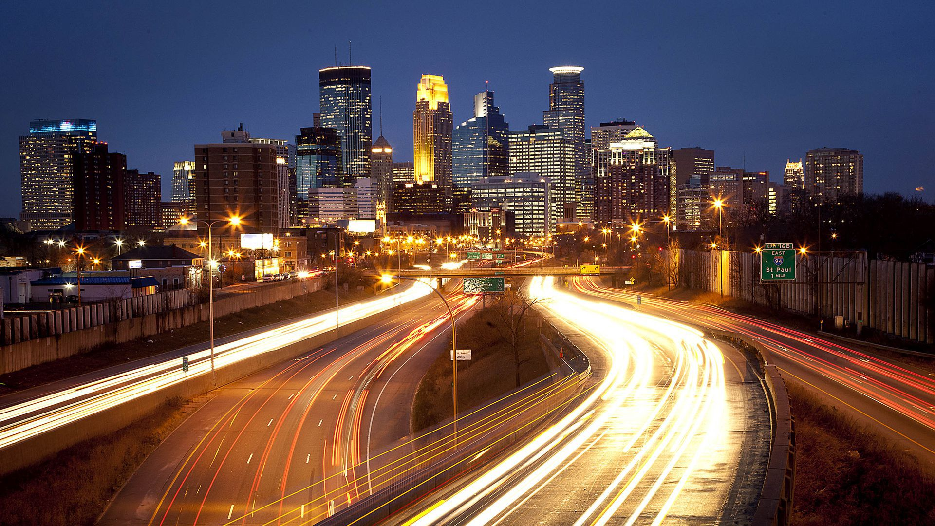 This is a photo of the Minneapolis skyline at night