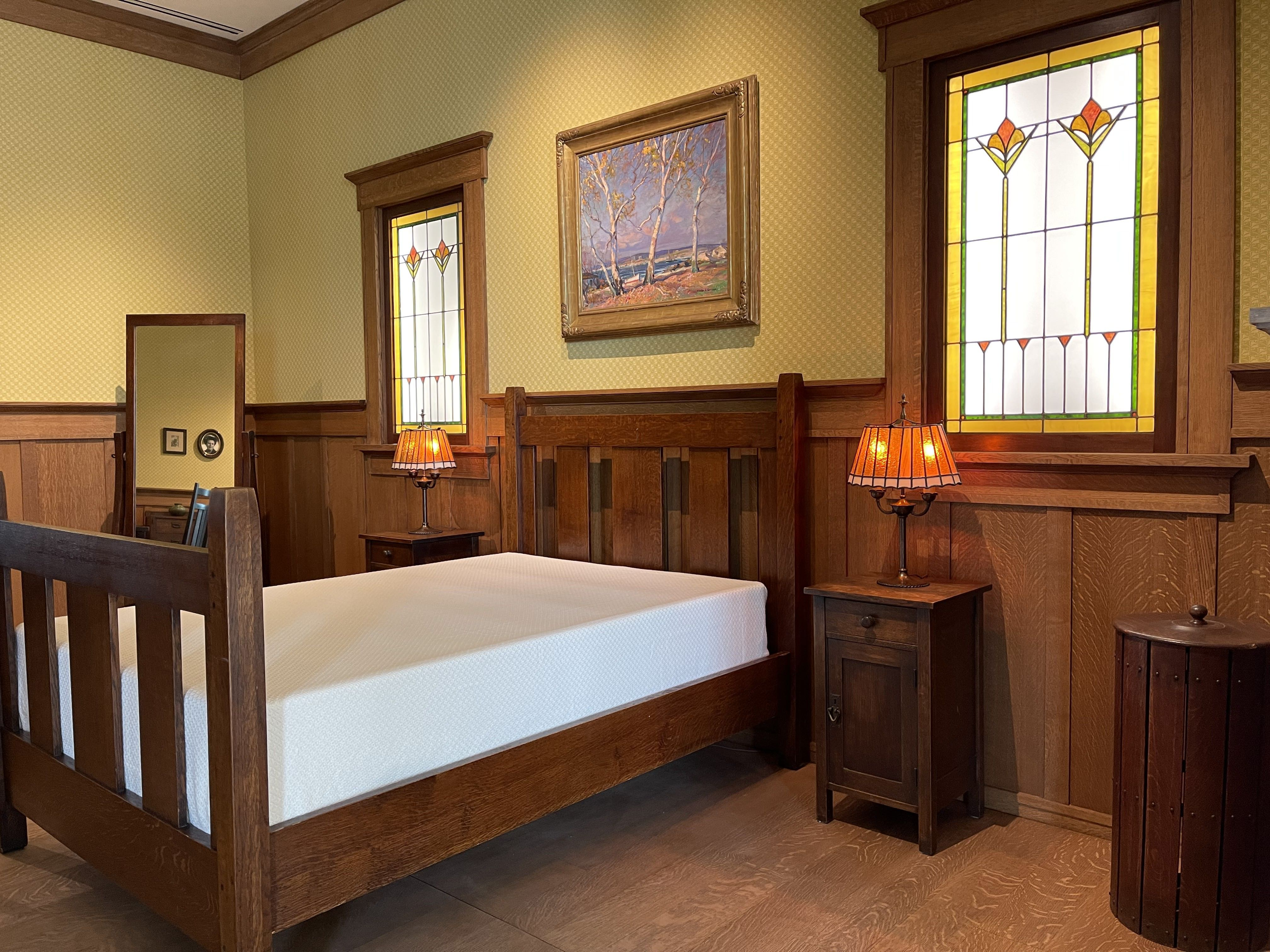 Gustav Stickley's recreated bedroom at the Museum of the American Arts & Crafts Movement