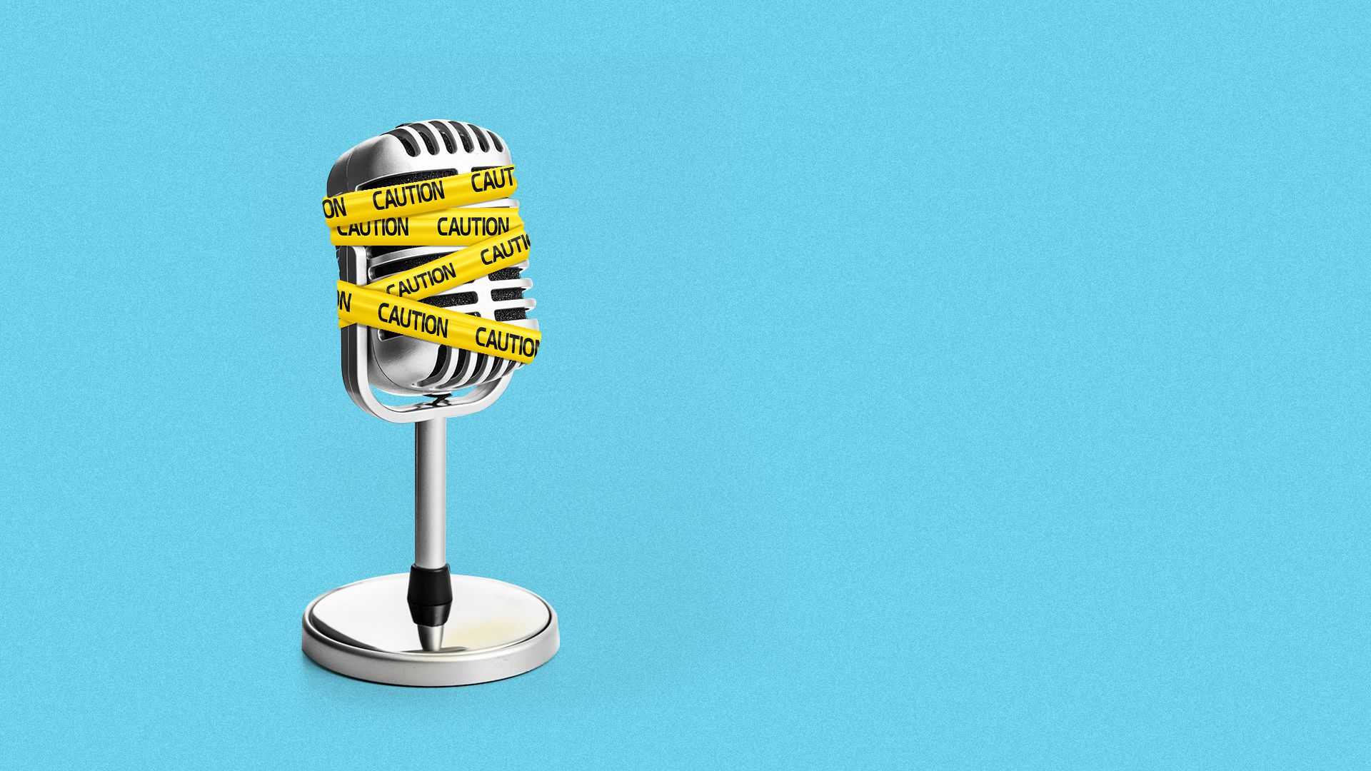 Illustration of a retro microphone with caution tape around it.
