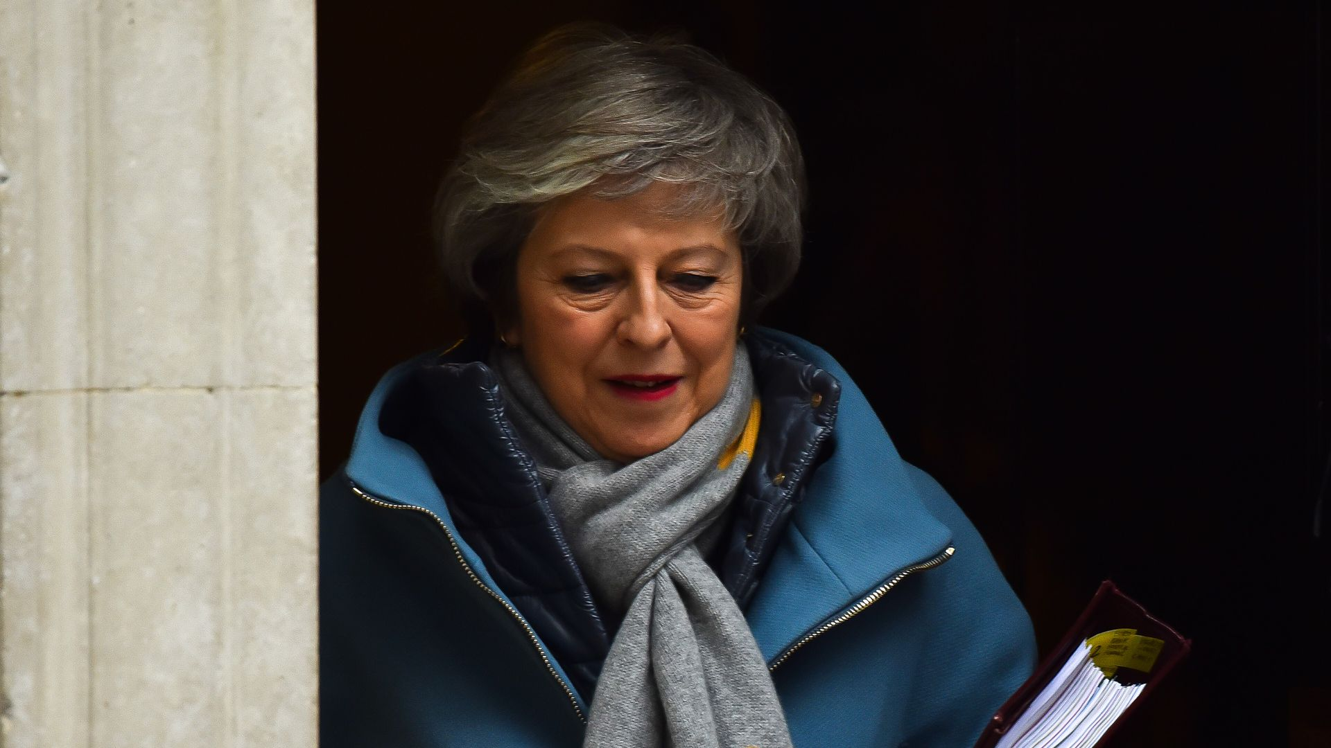 British Prime Minister Theresa May leaves 10 Downing Street to attend the weekly Prime Minister's Questions, London on January 9, 2019.