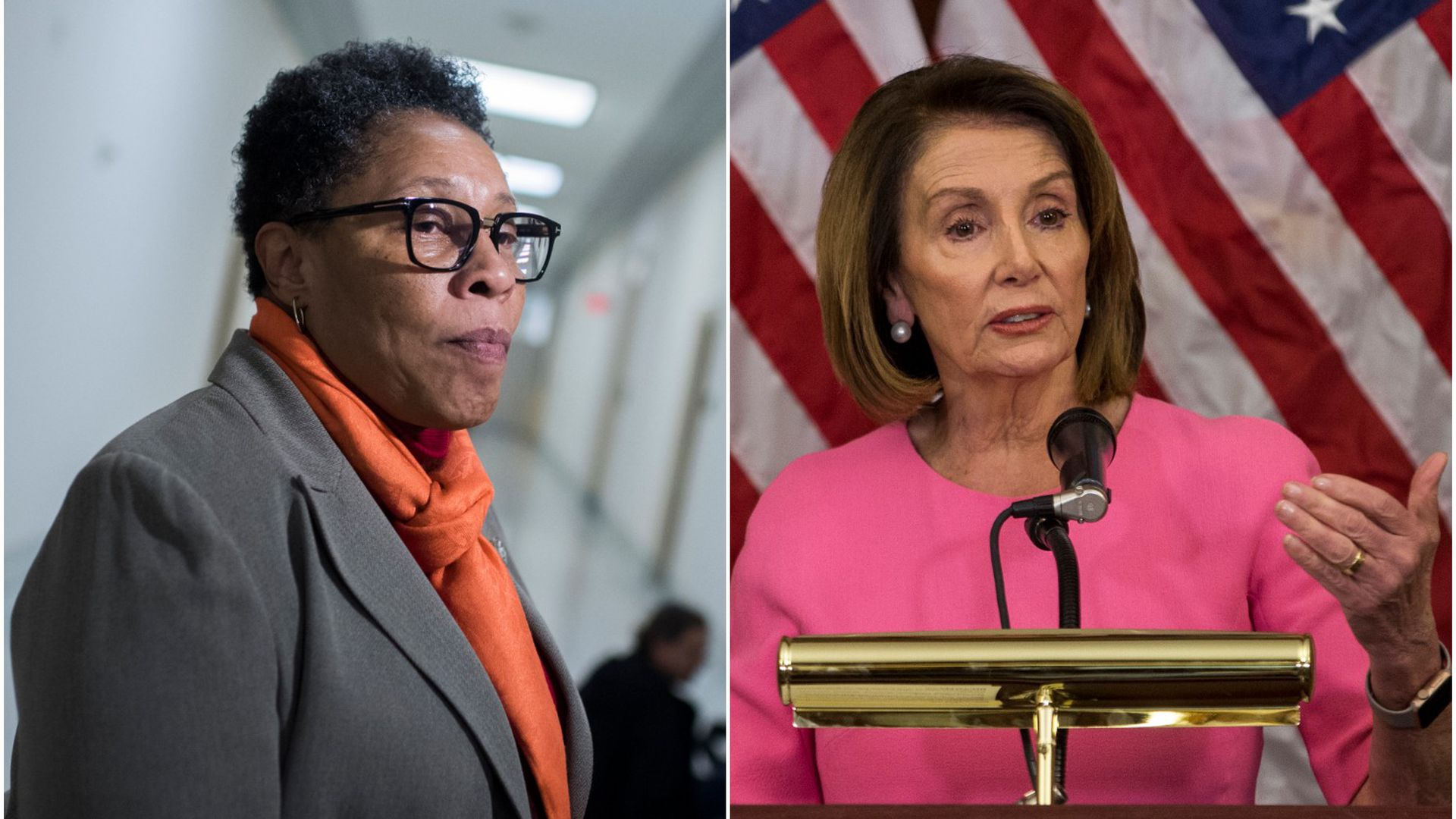 Side by side photos of Reps. Marcia Fudge and Nancy Pelosi