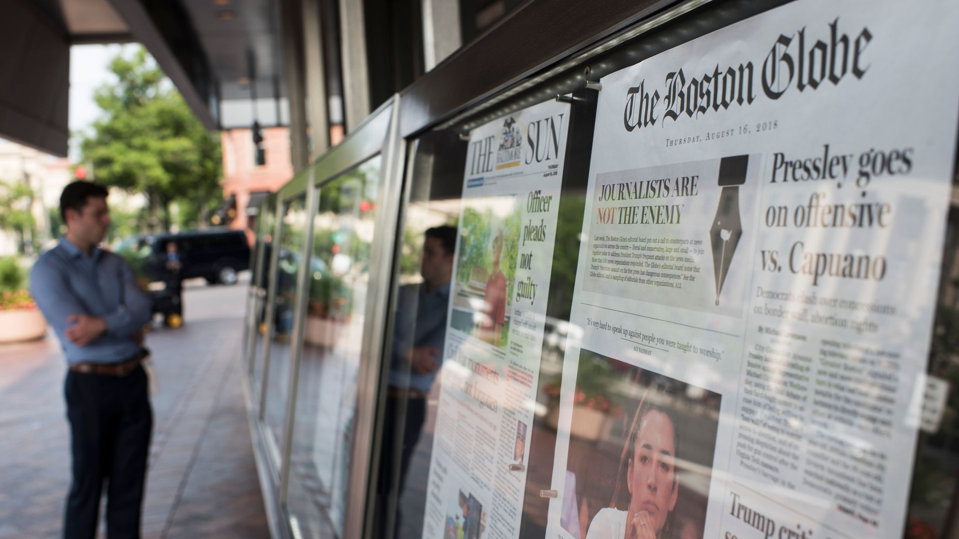 The Boston Globe's front page at the Newseum