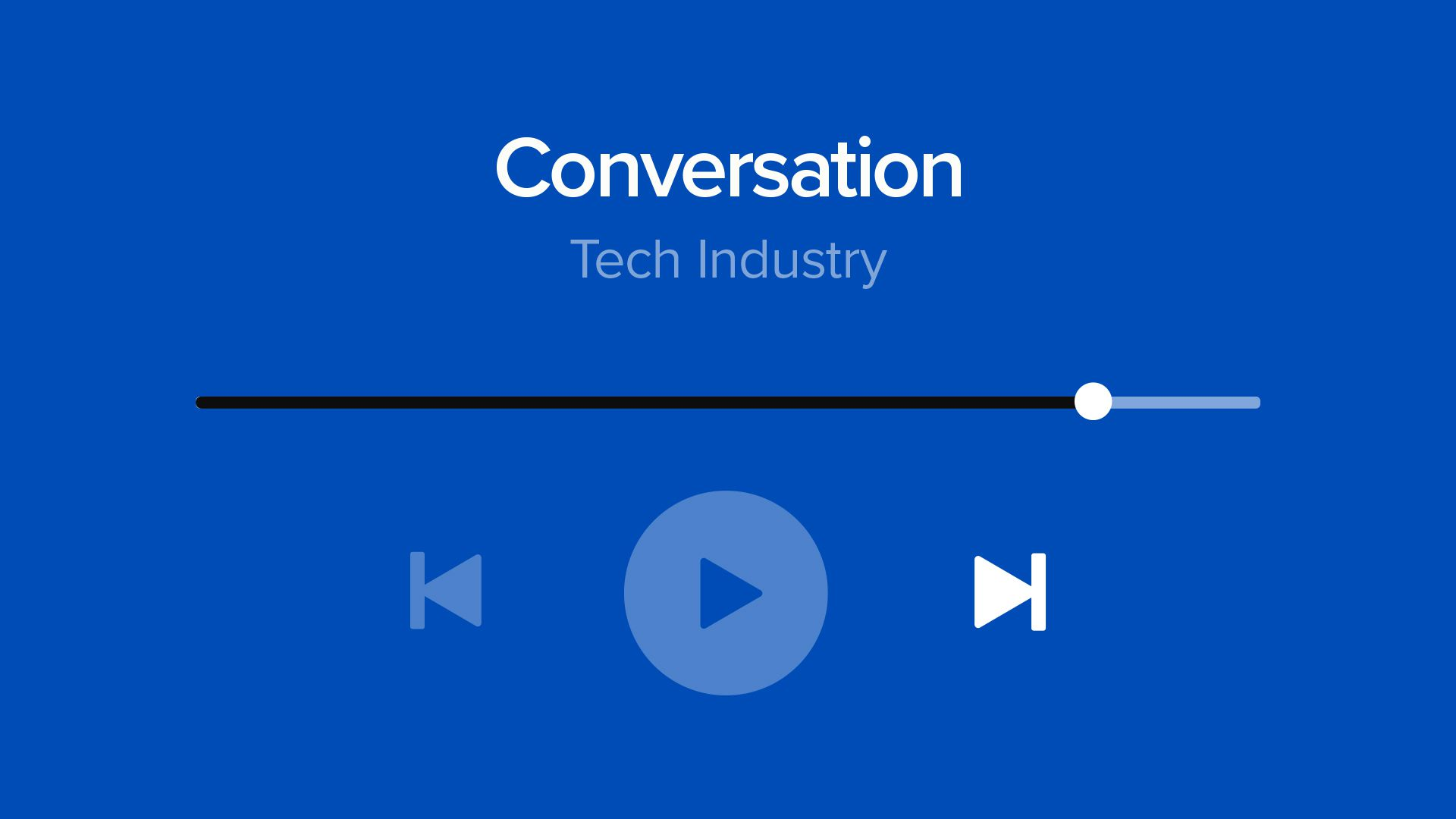 "Illustration of ""tech conversation"" as a song being skipped"