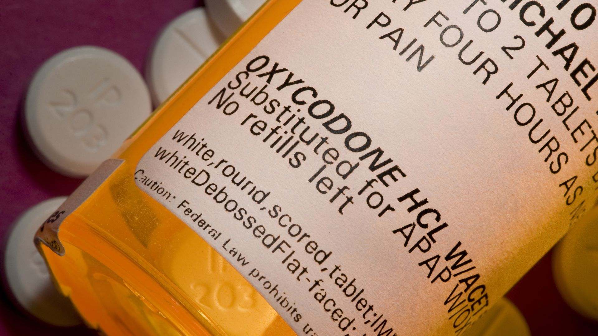 A prescription bottle for Oxycodone