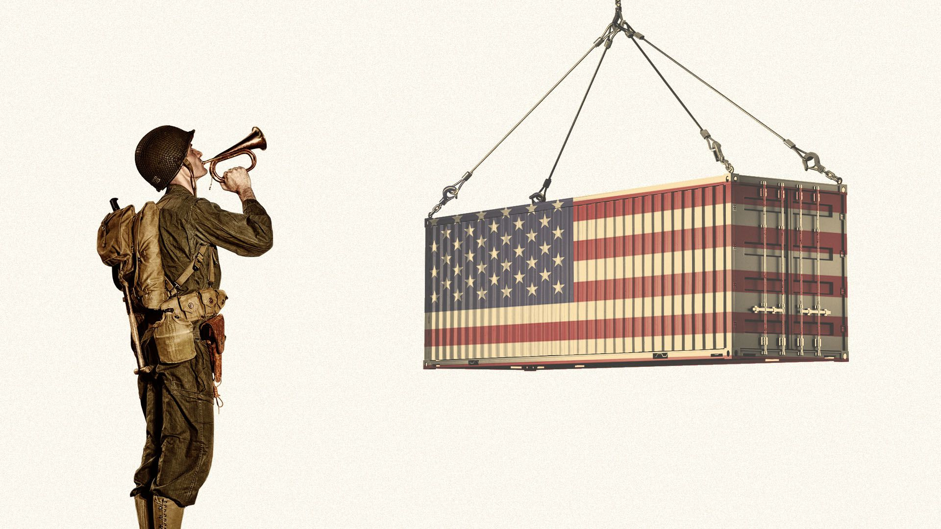 Illustration of a World War II soldier playing taps to an American flag shipping container.