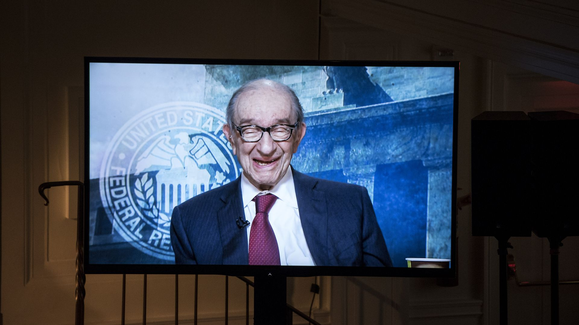 Alan Greenspan speaks via video conference with current Federal Reserve Chair Janet Yellen and former Federal Reserve Chairs Ben Bernanke, Paul A. Volcker.