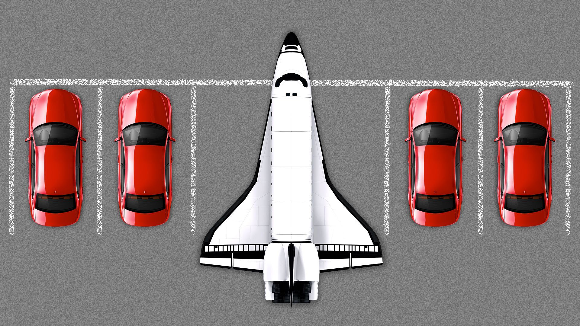 Illustration of spaceship parked next to cars