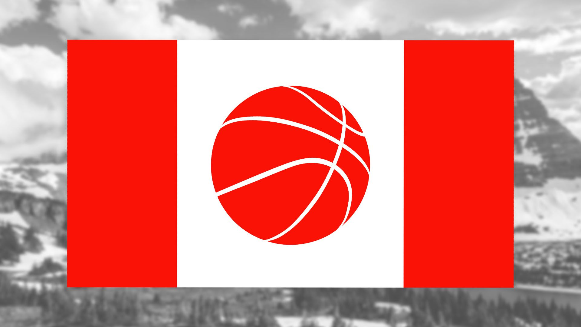 Illustration of Canadian flag with basketball in place of maple leaf