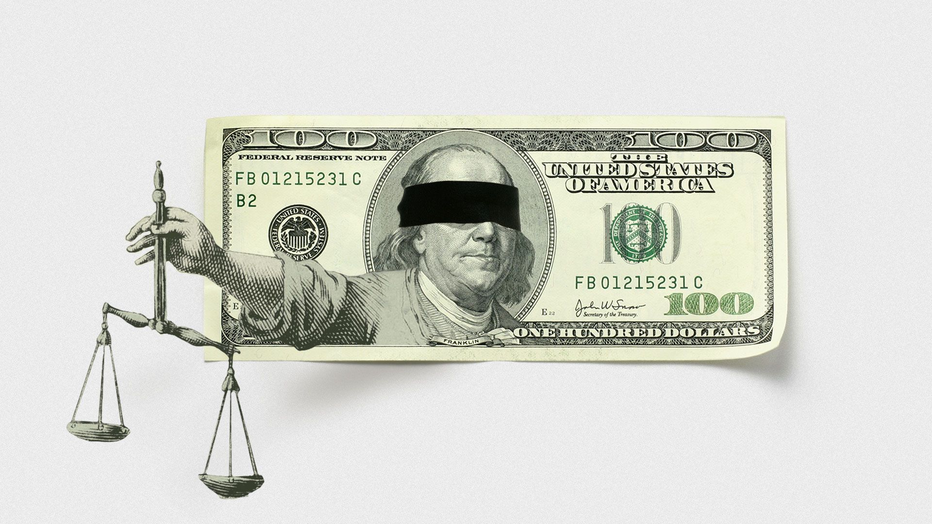 Illustration of a one hundred dollar bill with Benjamin Franklin blindfolded holding out the scales of justice.