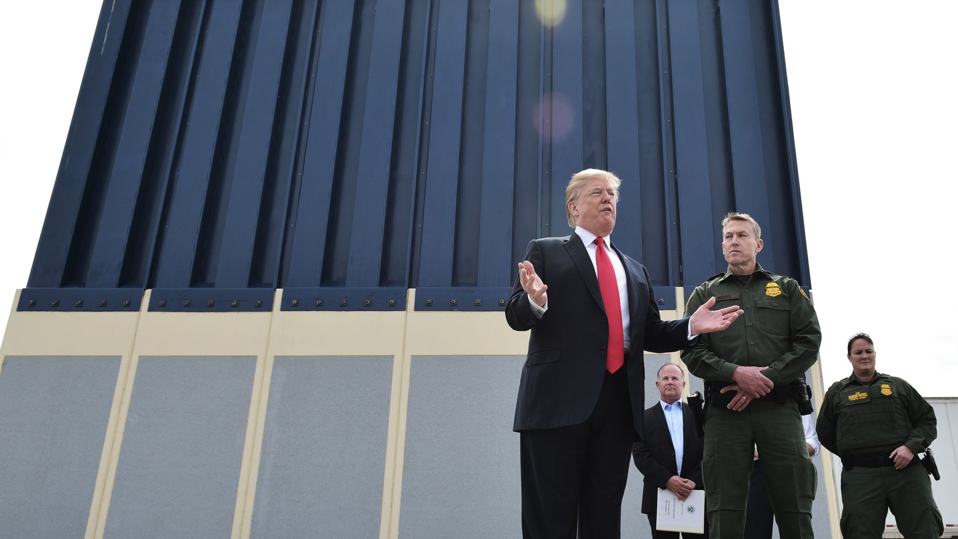 Trump in front of border wall prototype