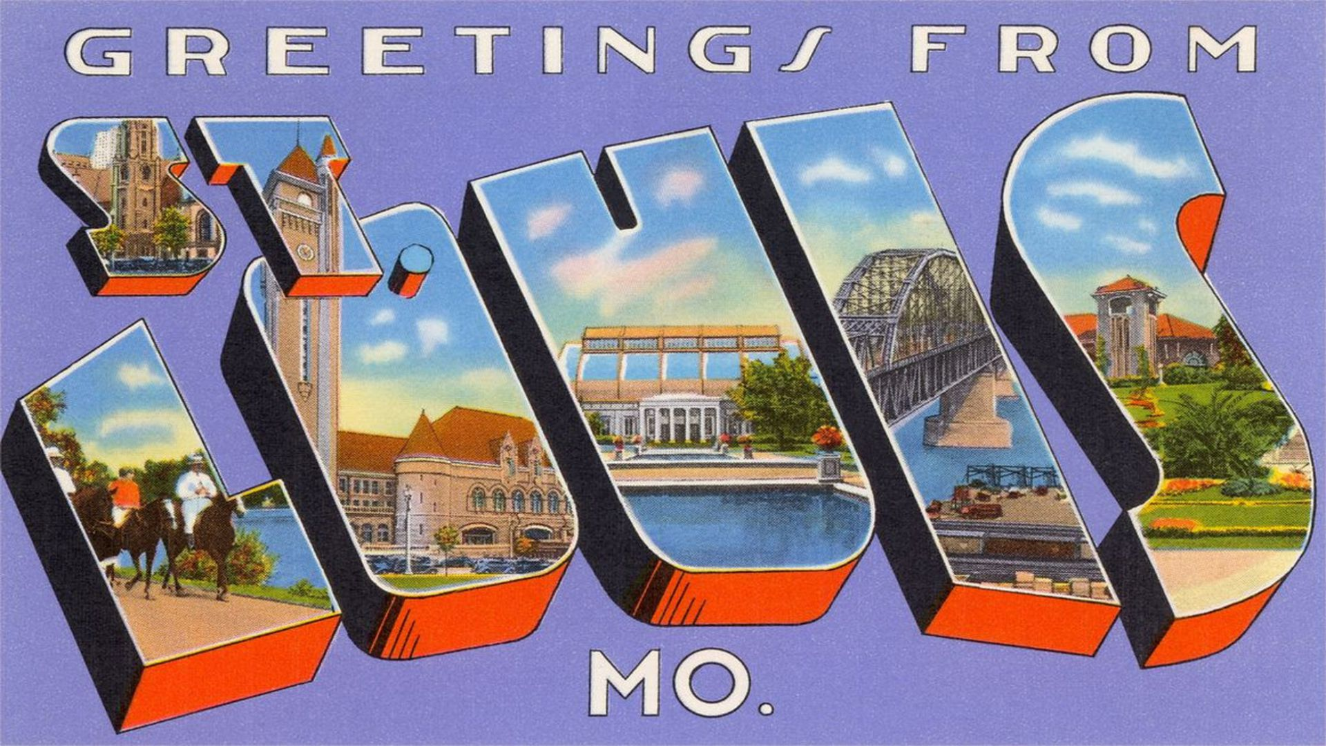Postcard that says greetings from St. Louis Missouri