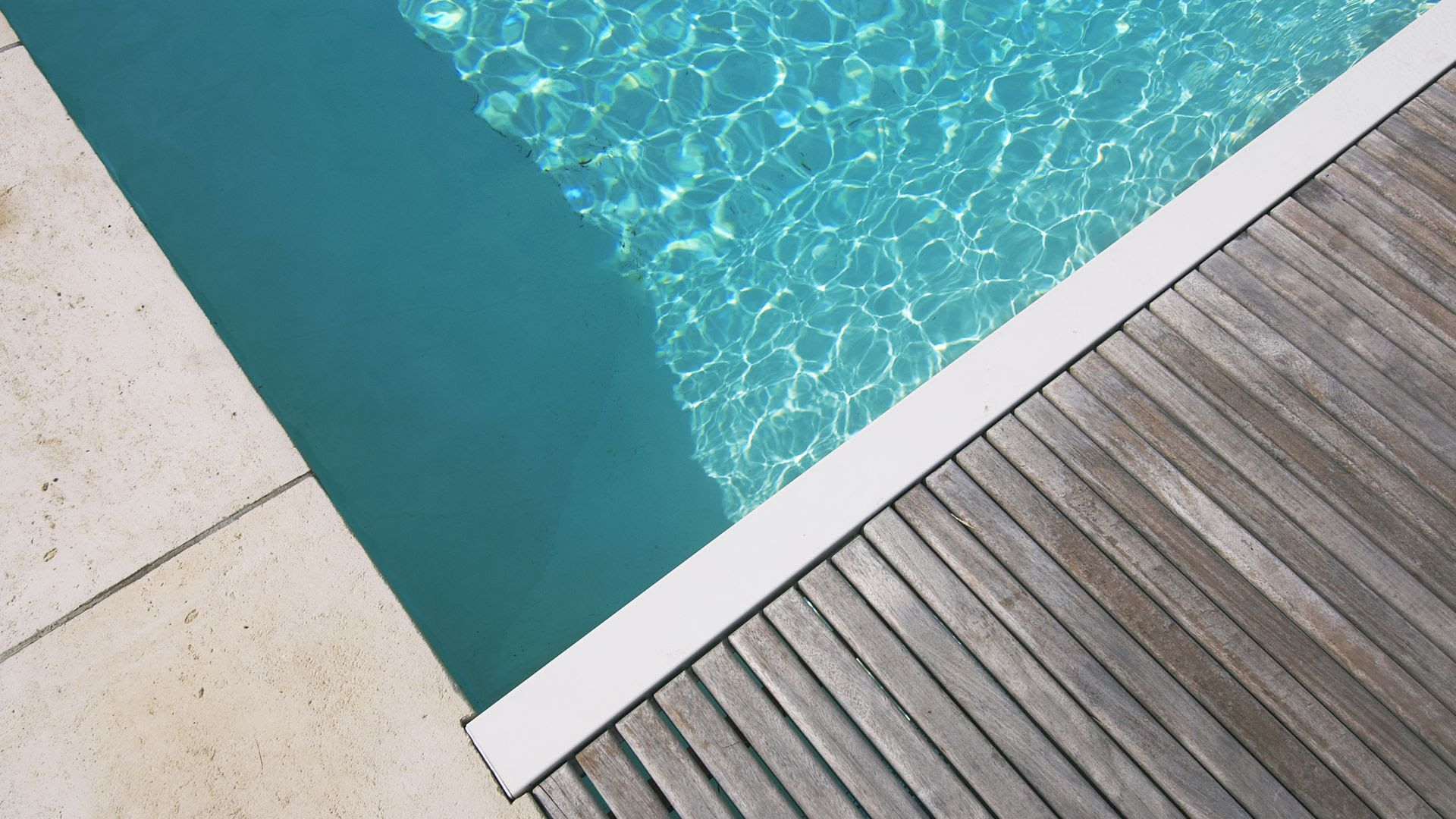 The corner of a generic pool in an unknown location.