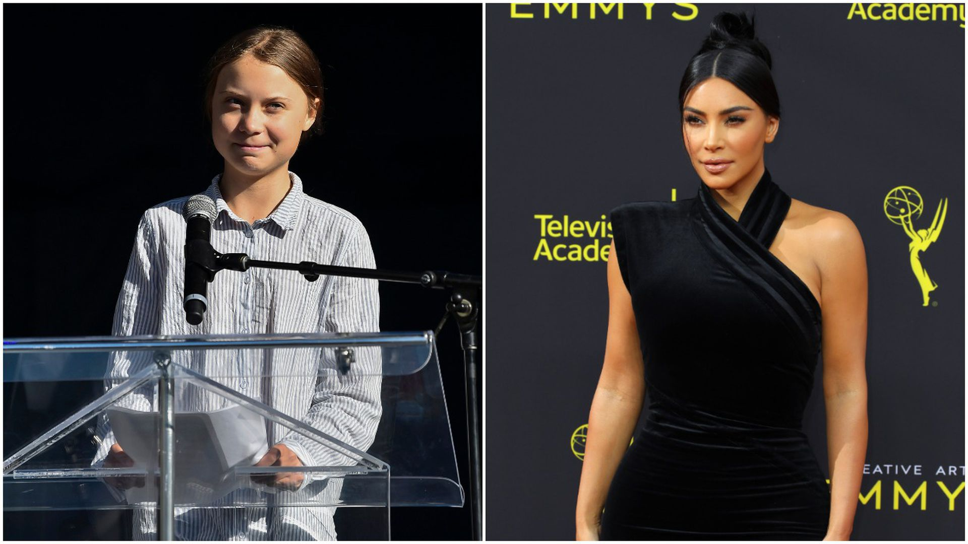 Teen climate activist Greta Thunberg and reality TV star Kim Kardashian