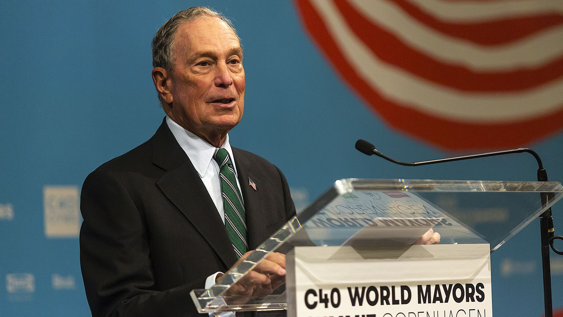 Bloomberg speaks at a press conference at the C40 World Mayors Summit