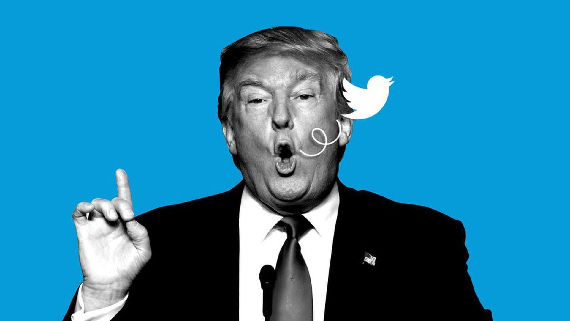 illustration of President Trump opening his mouth and the Twitter bird logo flies out