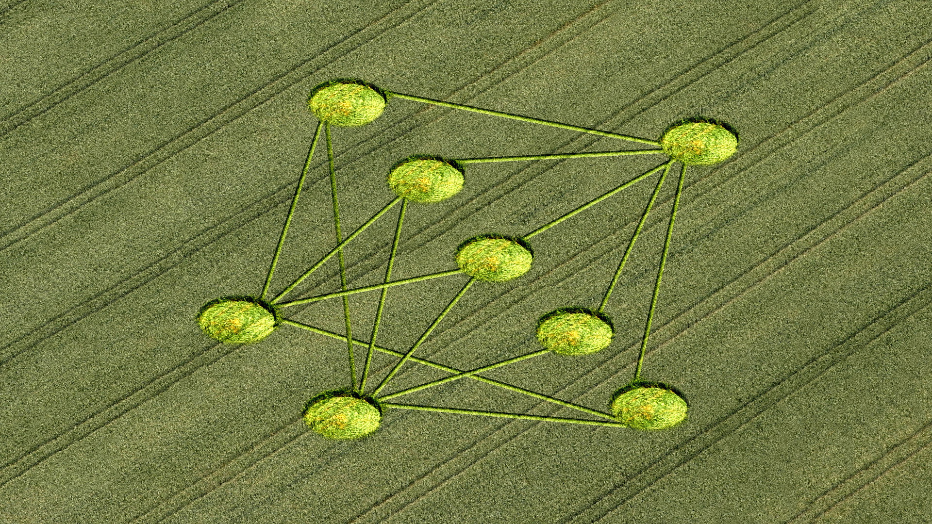 Illustration of field with nodes representing the application of AI in agriculture.