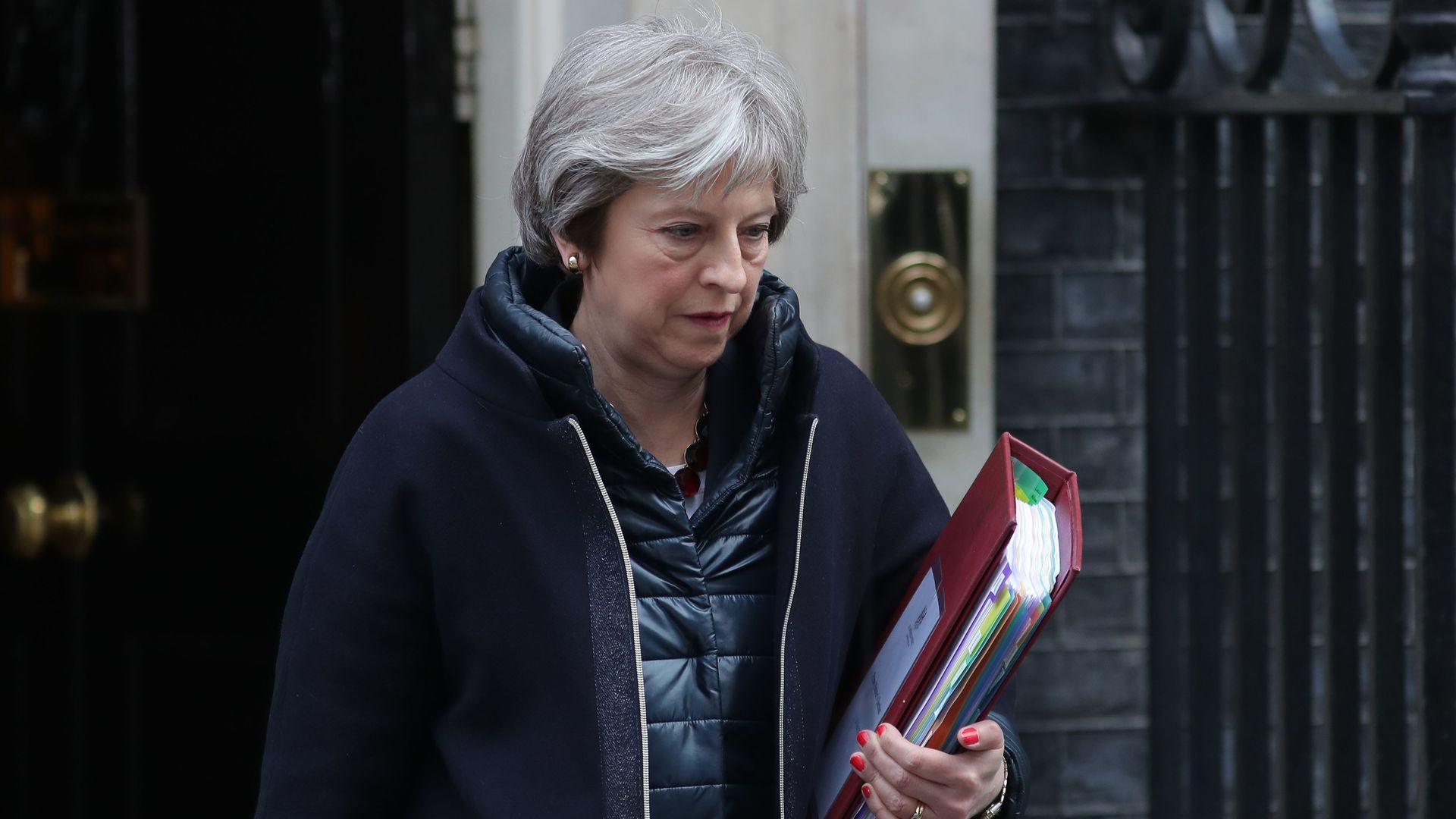 Theresa May leaving 10 Downing Street