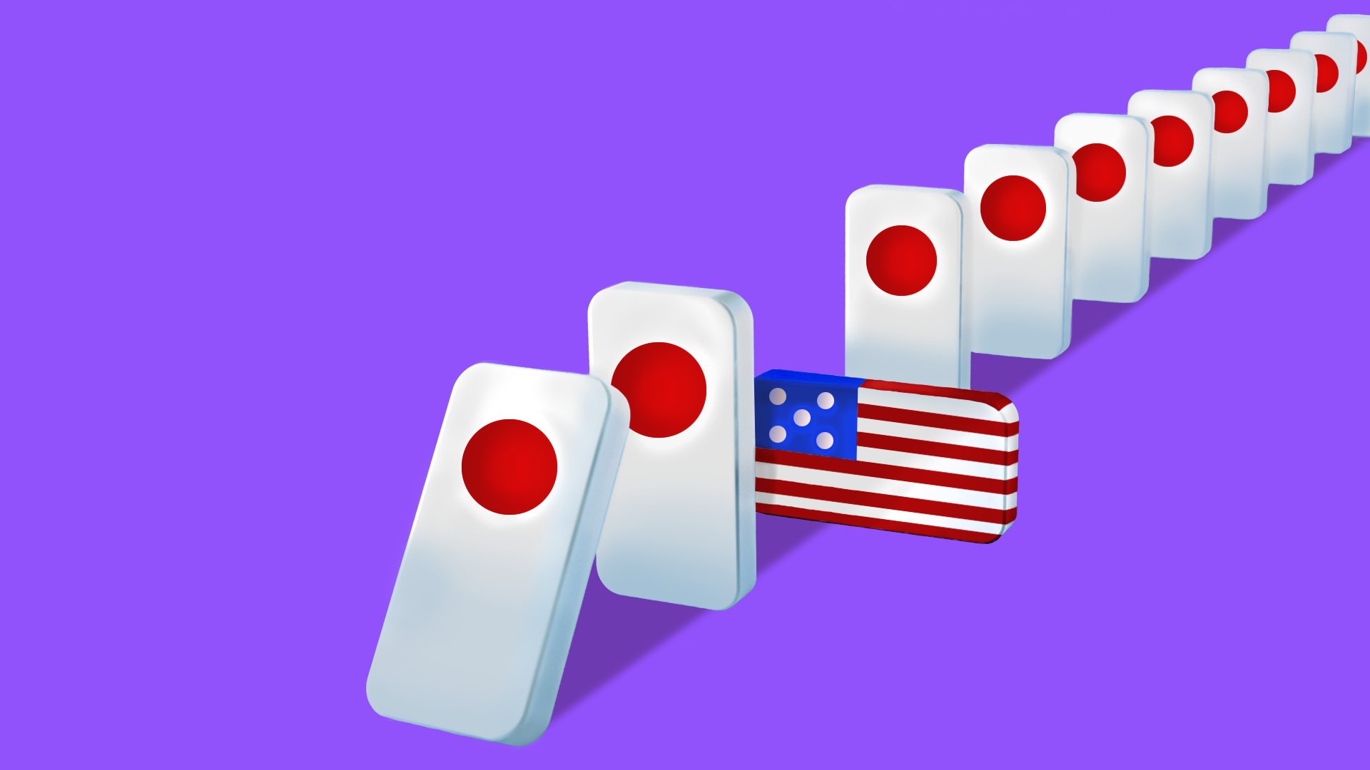 Falling dominoes with the Japanese rising sun, blocked by a U.S. flag