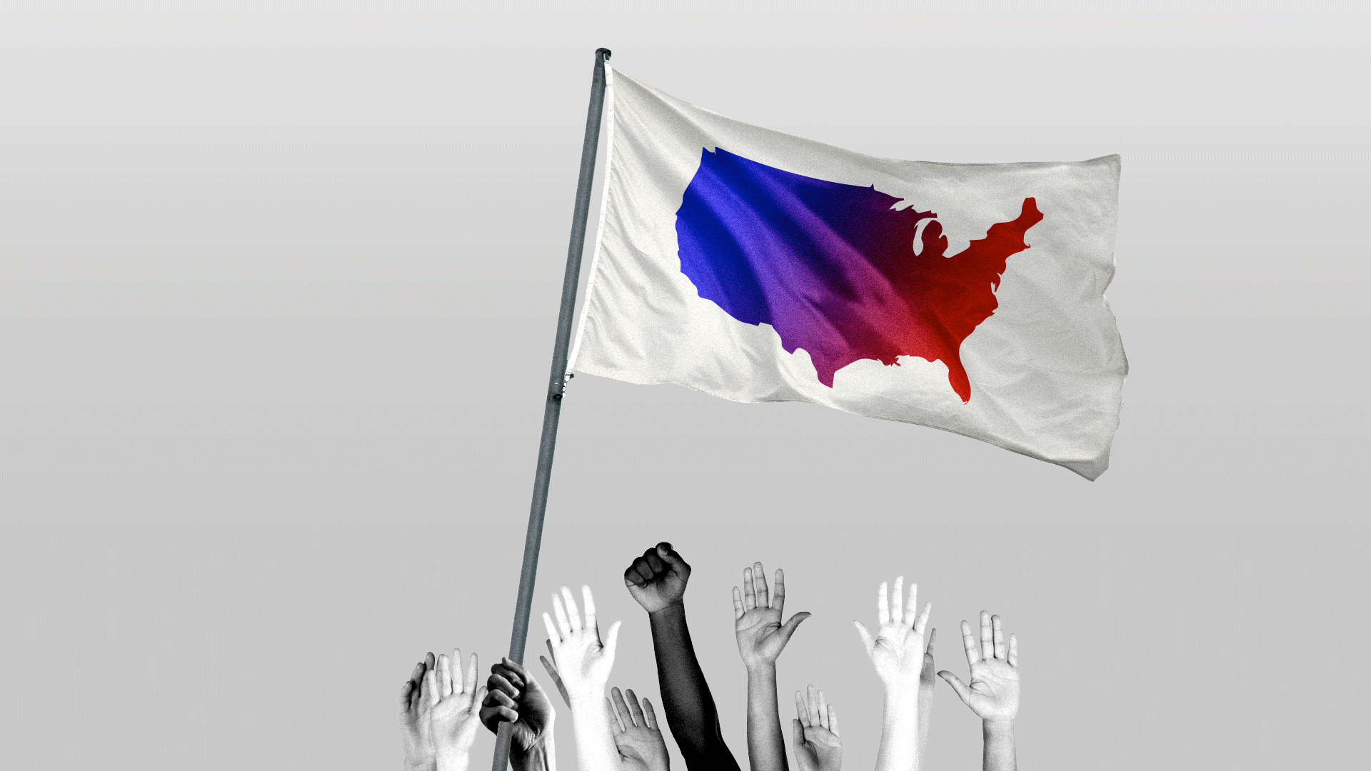 Illustration of a group of people carrying a white flag with an outline of the United States shifting colors.