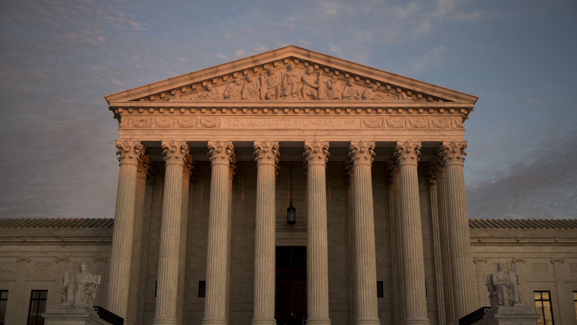 The Supreme Court building from a low angle.