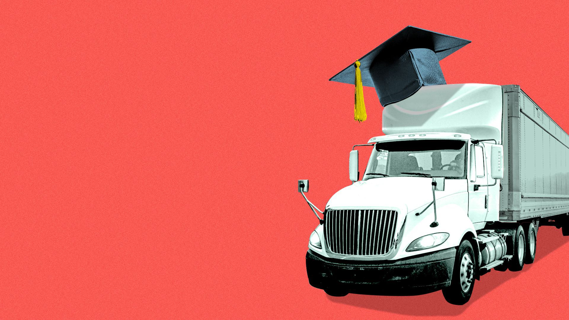Illustration of a tractor trailer wearing a mortarboard.