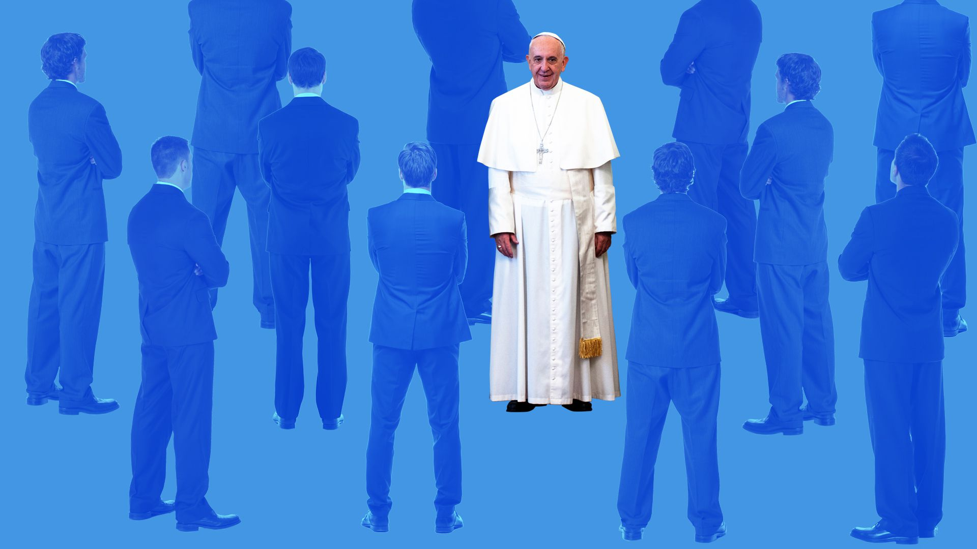 Pope Francis with the backs of men in suits.