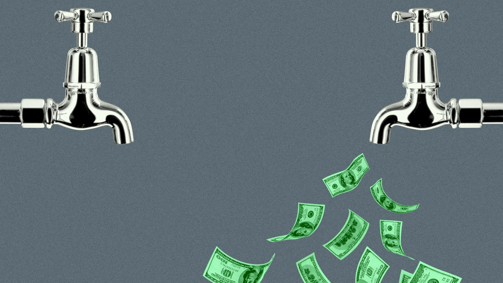 Illustration of two faucets, one dry and one with hundred dollar bills coming out of it.
