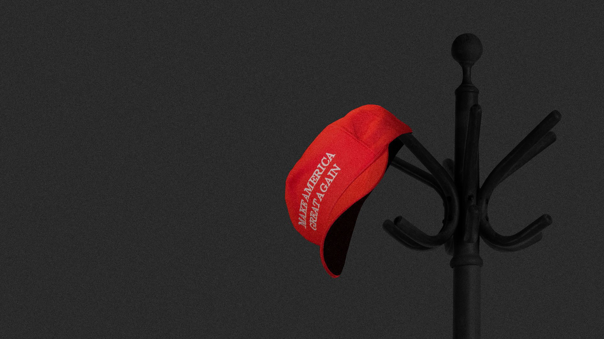Axios illustration: Make America Great Again head hangs on an ominous coat rack