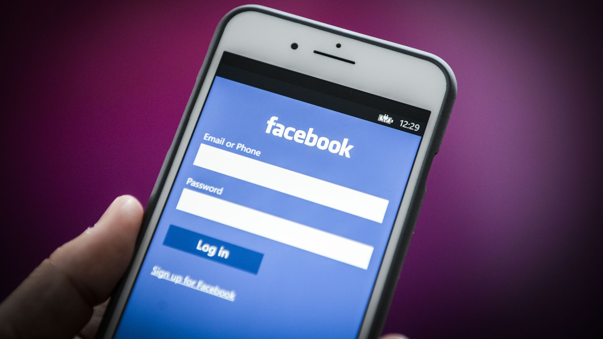 Facebook login screen on phone