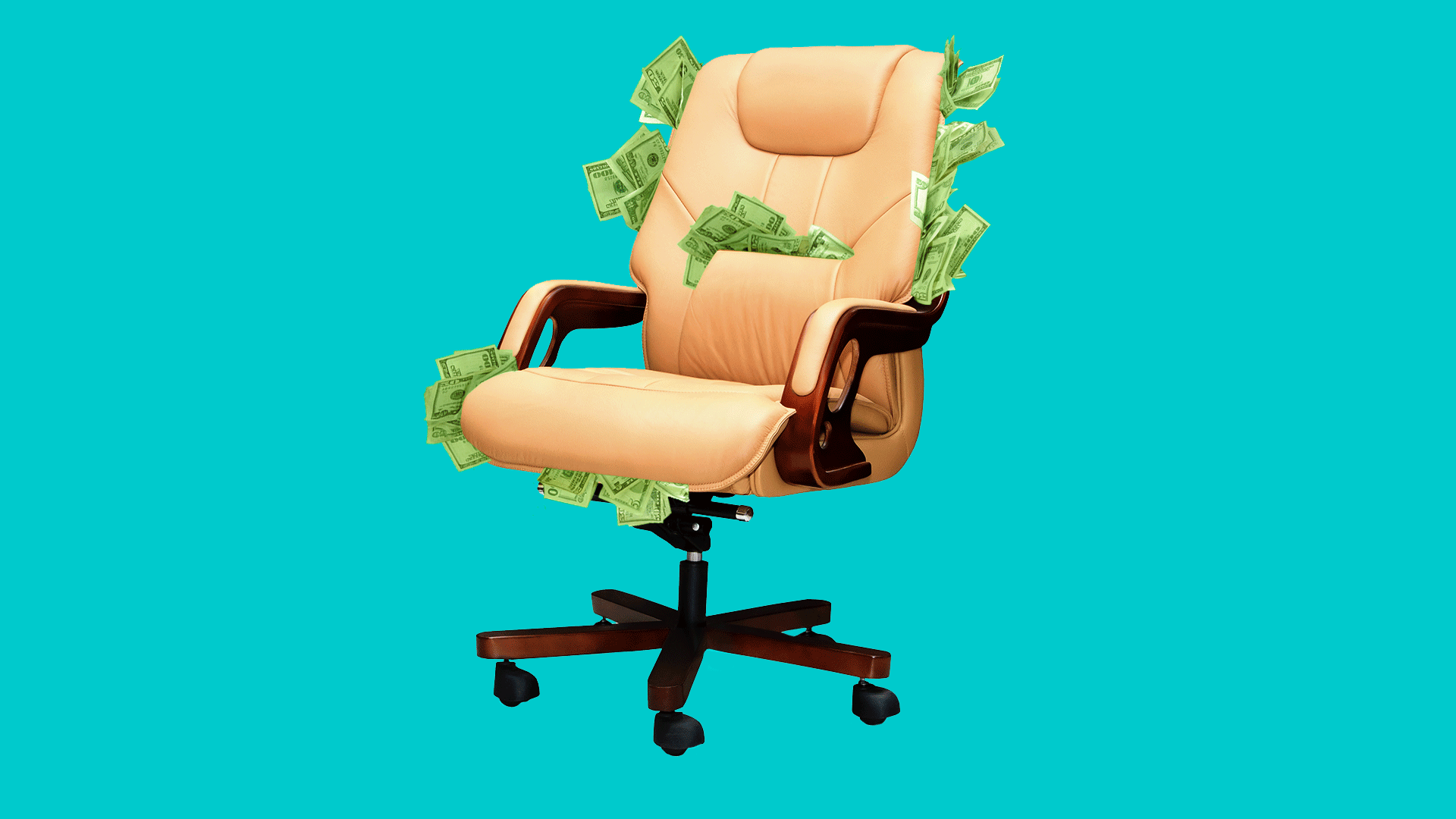 In this illustration, an office chair sits overstuffed with money.