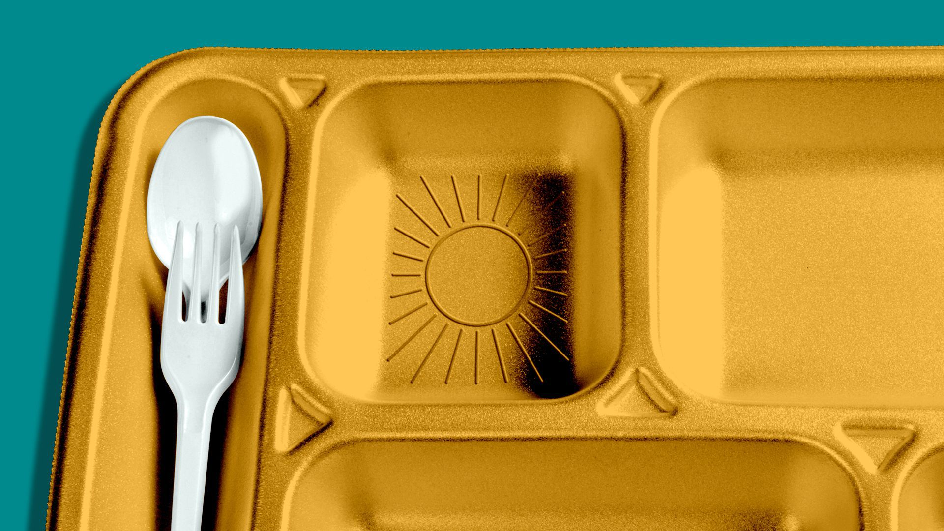 Illustration of a school lunch tray with a sun embossed into it.