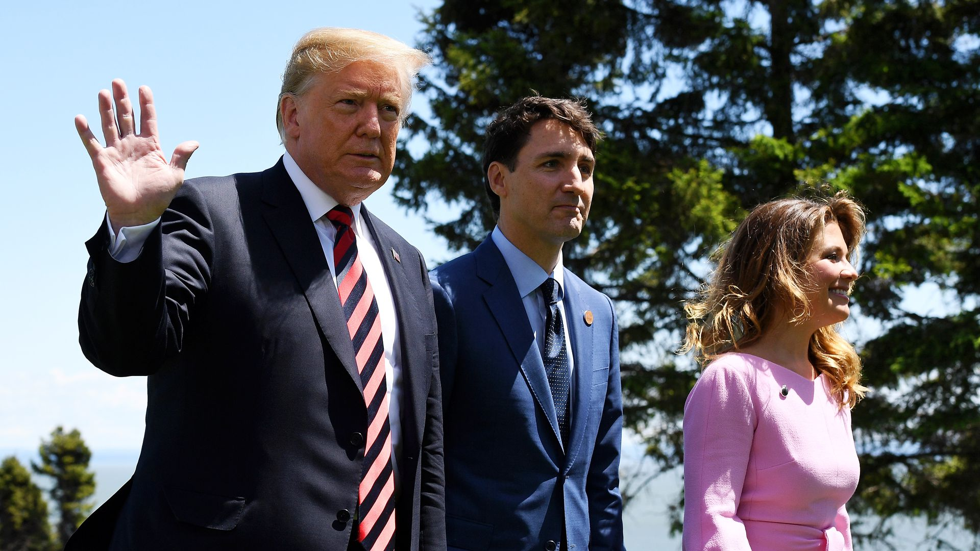 Prime Minister of Canada Justin Trudeau and wife Sophie Gregoire greet President Trump during the G7 official welcome on June 8, 2018 in Quebec City.