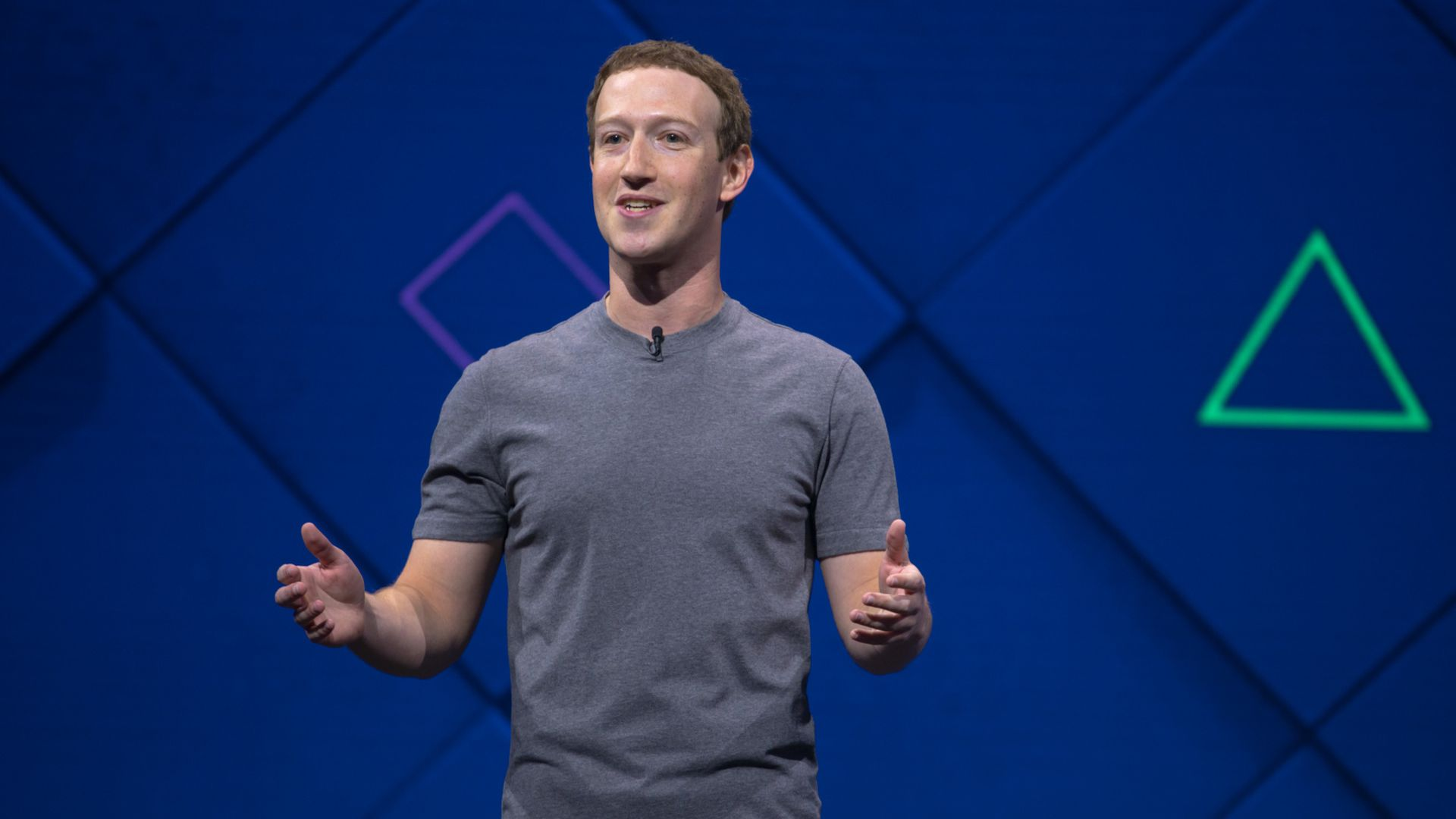 Facebook CEO Mark Zuckerberg, speaking at the F8 conference in 2017.