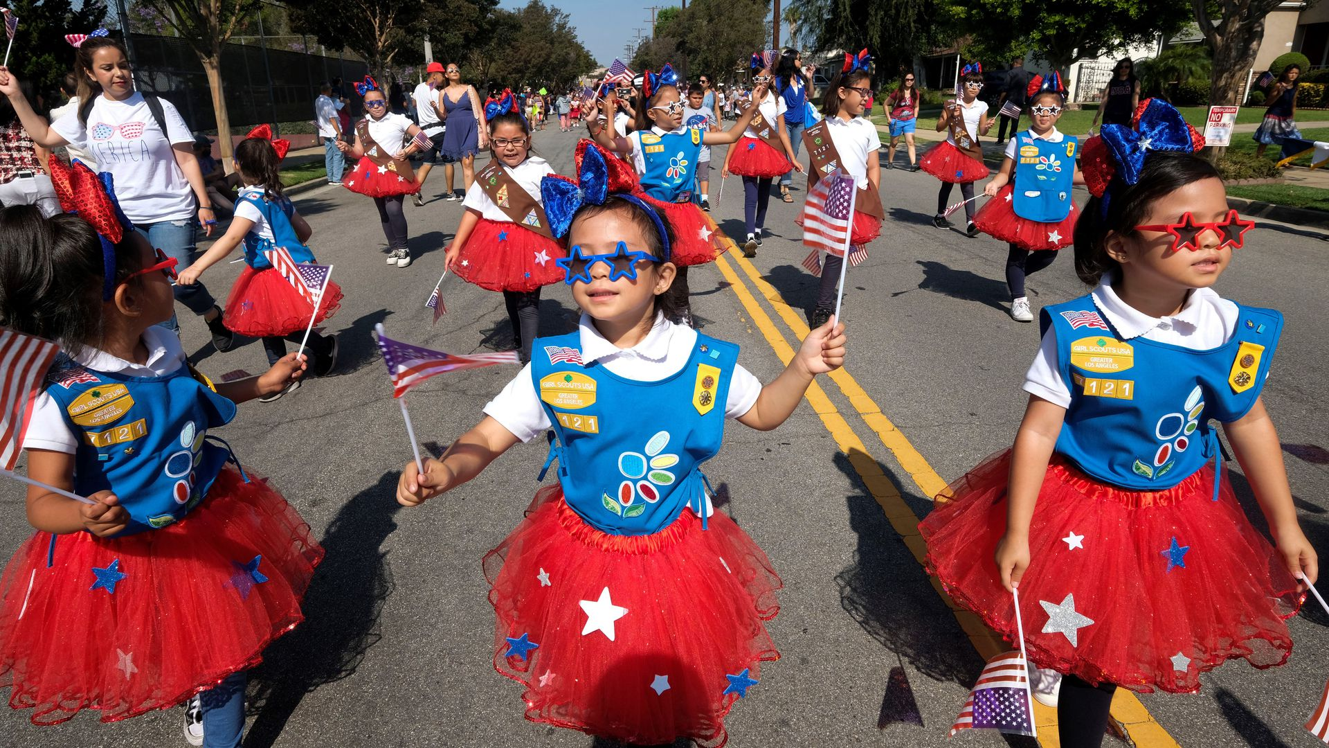 Young children in a fourth of july parade