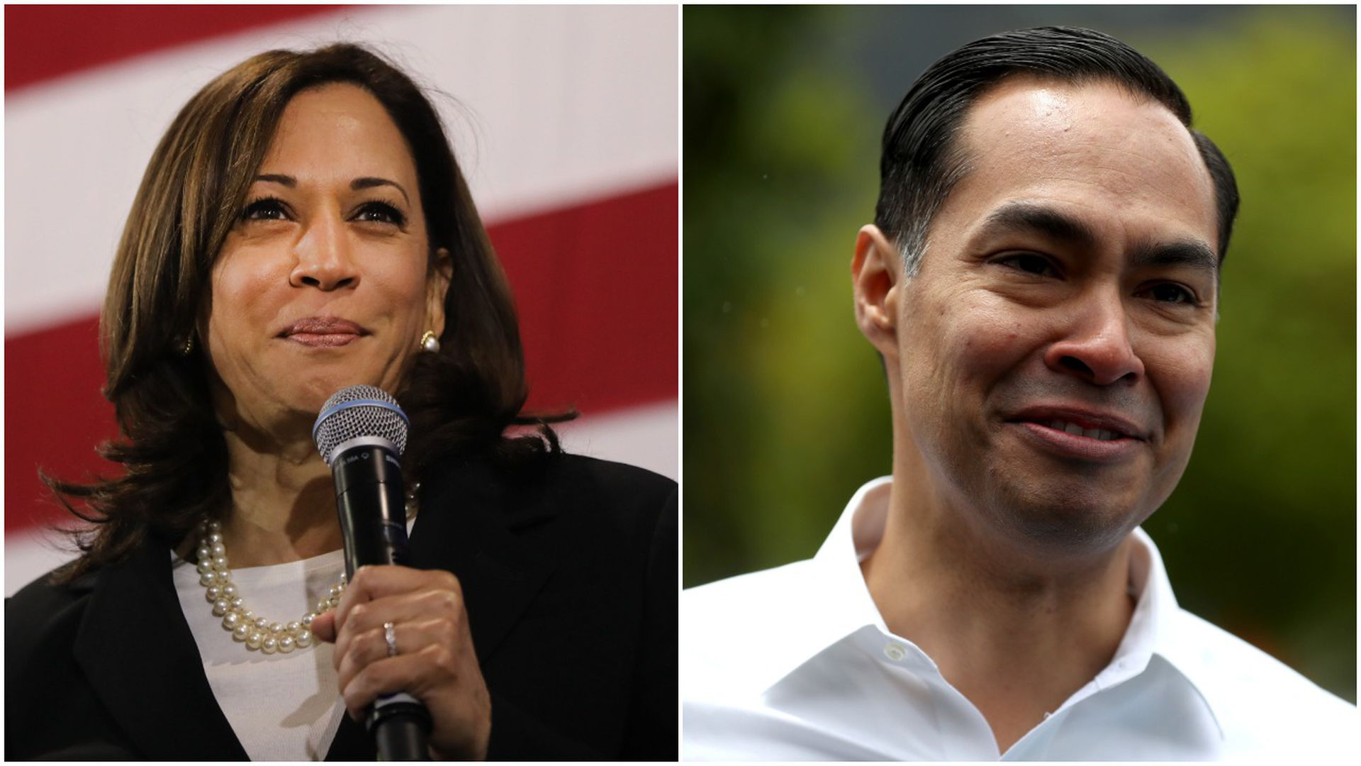 This image is a two-way split screen between Kamala Harris and Julian Castro.
