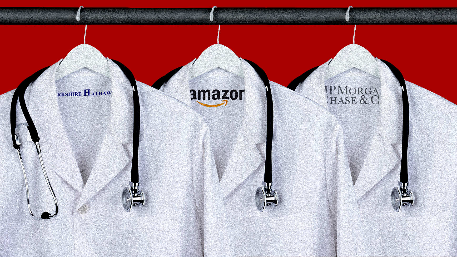 Doctors' coats with Amazon, Berkshire Hathaway and JP Morgan Chase logos