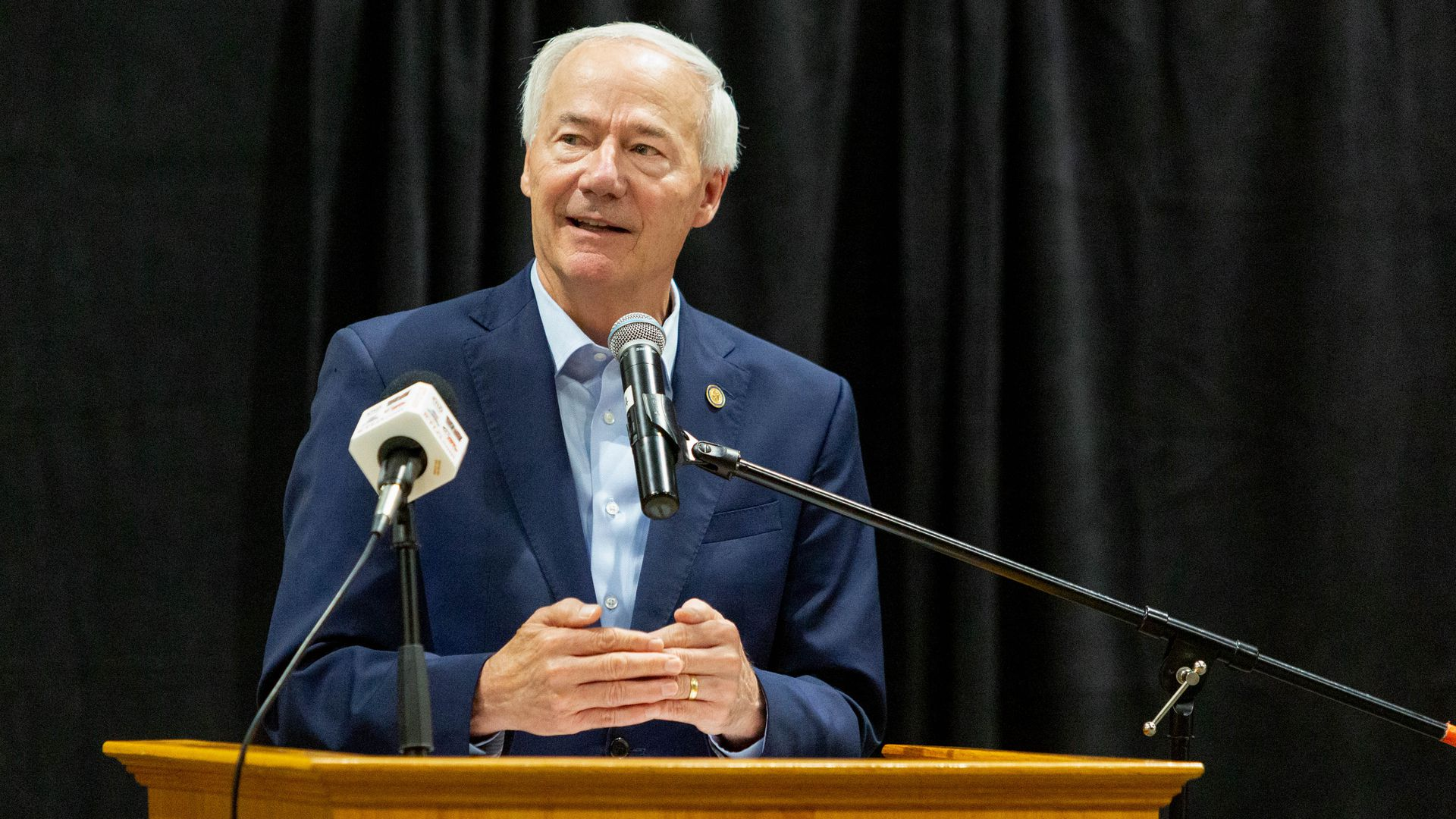 Asa Hutchinson, governor of Arkansas, during a community town hall to promote Covid-19 vaccinations  in Mountain Home, Arkansas, U.S., on Monday, July 16