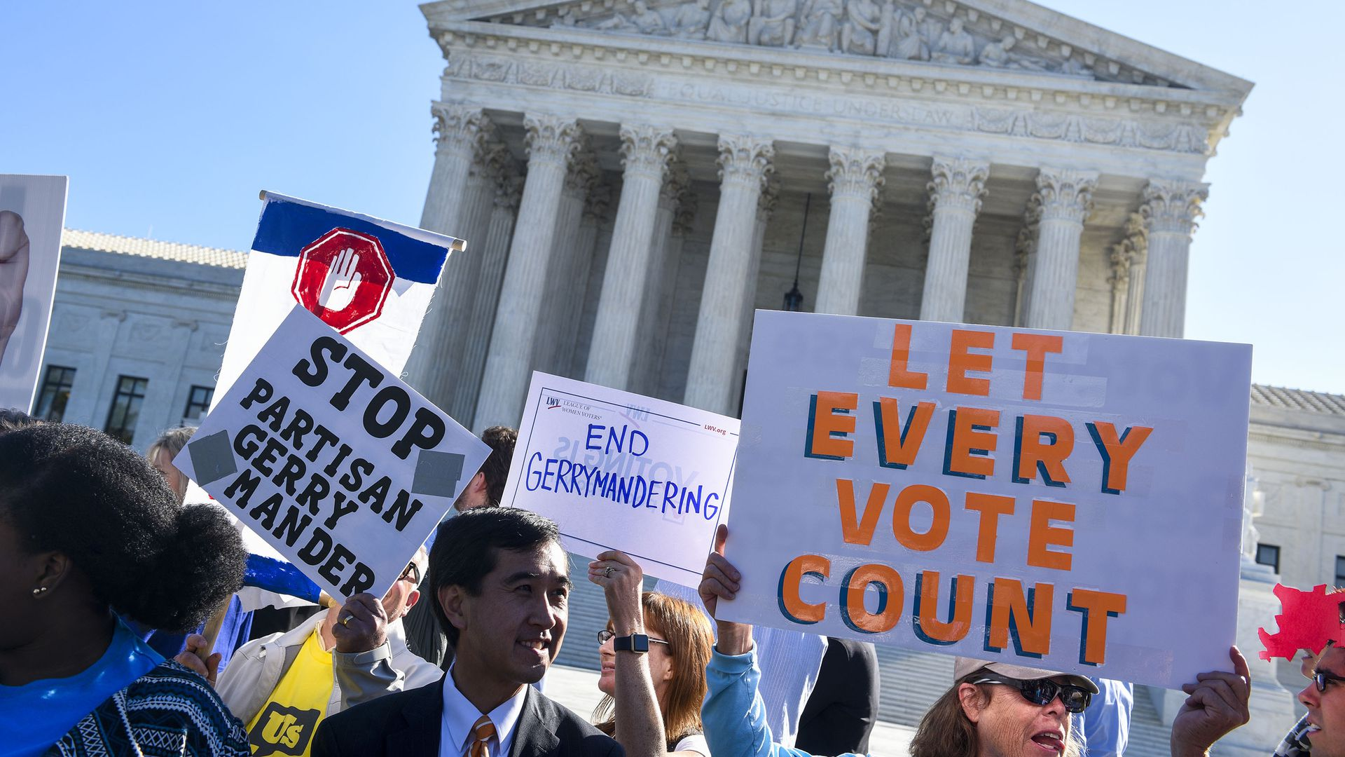 Protestors at a rally to call for 'An End to Partisan Gerrymandering' outside the Supreme Court. Photo: Leigh Vogel/Getty Images